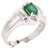 925 Sterling Silver Genuine Emerald Ring