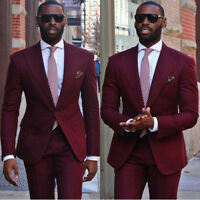 Mens Suits Burgundy Groom Formal Business Wedding Groomsman Tuxedos Custom