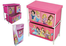 3 DRAWER DISNEY PRINCESS GIRLS CANVAS STORAGE UNIT ORGANISER PINK TOYS CLOTHES