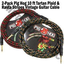 2 PIG HOG 10 FOOT RASTA STRIPES TARTAN PLAID GUITAR PATCH CABLE 1/4 CORD PigHog