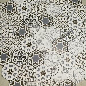 Hexagon Mix Design Porcelain Wall & Floor Tiles 20 X 23 cm / Sqm