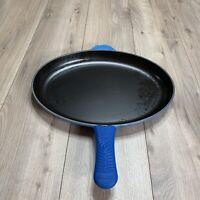 Vintage Le Creuset Blue Oval Enamel Cast Iron Pan #40