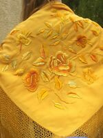Long Fringe Antique Silk Embroidered Piano Scarf/Shawl.