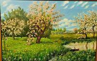Tableau ancien, paysage aux arbres fruitiers, huile sur toile