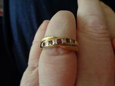 MODERN FULLY HALLMARKED 9 CARAT GOLD RUBY & DIAMOND TEXTURED & POLISHED RING N