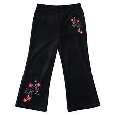 Girls Kids Adams Black Velour Fleece Tracksuit Pants Bottoms Leggings Age 2-10