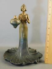 Art Nouveau Bronze Semi Nude Lotus Lady Sculpture Statue 10''High