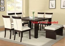 Modern Beautiful Stylish Beige PU & Espresso Finish Dining Chairs 6pc set Chair