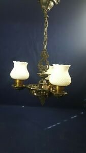 "Vintage Cast Iron 3 Arm Light Chandelier G21 White Knobbed Shade Hangs 24"" Works"