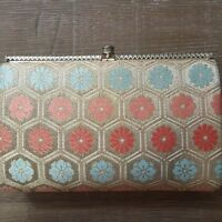 Mid Century Vintage Gold Lame Floral Evening Cocktail Bag Clutch Purse EUC