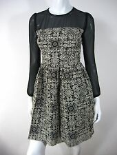 LONG SLEEVE LACE LEATHER TRIM DRESS SIZE S SMALL BLACK 161