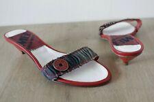 Womens Miss Sixty 60 Denim & Red Slip On Kitten Heel Shoes | Size 5