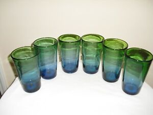 Vintage Blue and Green Hand Blown Glass Drink Glasses/ Tumblers  Set of 6