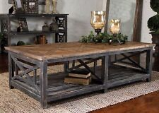 French Farmhouse Distressed Uttermost Spiro Reclaimed Wood Cocktail Table
