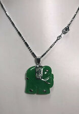 Natural Green Jade Elephant Pendant Necklace Fortune Luck Wealth Silver Chain