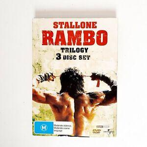 Rambo Trilogy 3 x Movie DVD Set Region 4 AUS Free Postage - Action Stallone