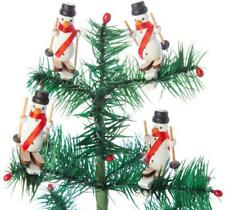 Wooden Snowman Downhill Skiing Wood Christmas Ornament Set of 4
