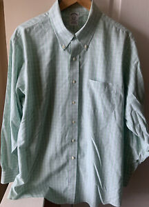 Brooks Brothers Mens 17 ~34 Non Iron Button Up Dress Shirt Green Plaid