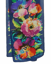 Lauren Ralph Lauren Rectangle Floral Silk Scarf Blue Multi $45