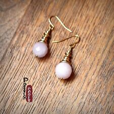 Boucles d'Oreilles Perle Quartz Rose  Classique Rétro Soirée Mariage Cadeau BB1
