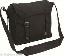Retro Style Black Army Canvas Webbing Haversack Satchel Messenger Bag