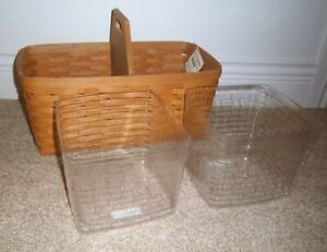 Longaberger WARM BROWN Large 20x11x9 HANDY HELPER Basket & Set of 2 Protectors