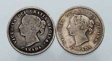 Lot of 2 Canadian Silver 5C Pieces (1880-H VF+, 1886 Fine) KM #2