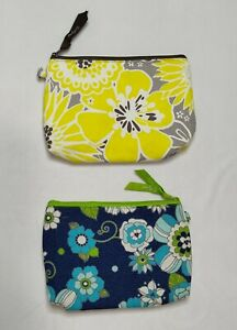 Thirty-One Mini Zipper Pouches - Yellow and Blue Floral - Set of 2