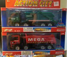 Lot of 2 Action City REALTOY City Truck MEGA Transport & Dumpster, NEW 1:50