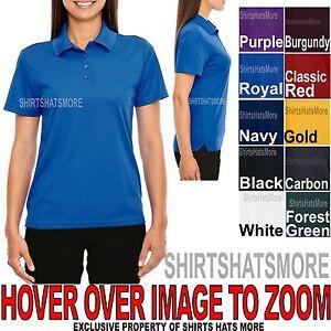 Ladies Moisture Wicking Polo Shirt 4 Button Dri Fit Womens Top XS-XL 2XL, 3XL