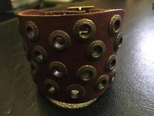 New Retro Mens Womens Cool Punk Wrist Brown-Red Wide Leather Band Bracelet Cuff