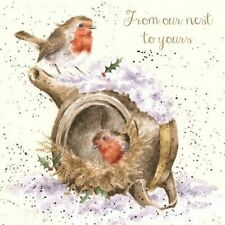 Christmas Robins Xmas Greeting Card – From Our Nest to Yours by Wrendale Designs