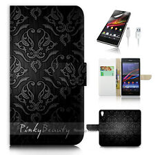 ( For Sony Z3 ) Wallet Case Cover! P1034 Damask Pattern