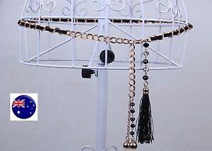 Women Black Synthetic Suede Metallic Slim Gold Chain Braided Dress Tassel Belt