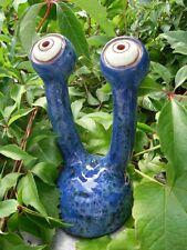 Gartenspion Stielaugen Keramik, frostsicher, Unikat, blau Augen Gartendeko