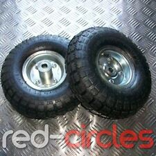 """PAIR OF 10"""" INCH PNEUMATIC SACK TRUCK WHEELS & TYRES 16mm AXLE"""