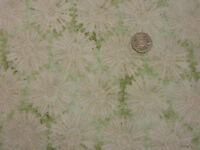 Quilting Fabric Large Cream Daisy Like Flowers Green BG 100% Cotton Fat Quarter