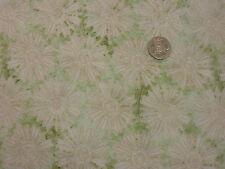 Quilting Fabric Large Cream Daisy Like Flowers Green BG 100% Cotton Fat Quarter