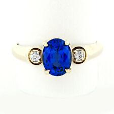 Unisex 18K Yellow Gold GIA 2.6ctw Royal Blue Sapphire & Diamond Three Stone Ring
