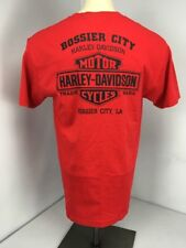 EUC Harley Davidson Cycles Bossier City, LA Chest Pocket 2-sided Red T-Shirt L