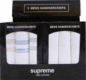 MENS GENTS PLAIN 100% COTTON 3 PACK WHITE HANDKERCHIEFS HANKIES BOXED BOX