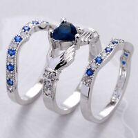Encanto Moda Boda Regalos Anillo de Claddagh Joyas Chapado en plata Zafiro Azul
