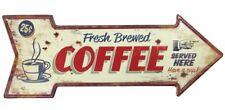 Blechschild Fresh Breewed COFFEE Nostalgie Wegweiser Vintage 50x19cm