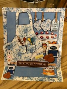 Handmade Birthday card & Envelope 'Baking up a storm' apron