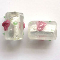 10 Silver Foil Lampwork Glass Tube Beads 16x10mm Clear