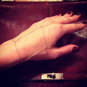 Custom order 2-14k Gold Filled Rectangle Chain Slave-Bracelets 1 Rhinestone