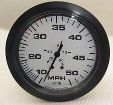# 33510 NEW Teleflex 50 MPH Speedometer White / Black Gauge FREE SHIP!