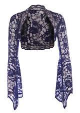 Ladies Navy Blue Lace Bell Sleeve Bolero Shrug Size 8-30