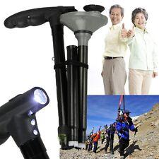 Sturdy A Cane With LED Light Foldable Triple Head Pivot Base Hurry Secure Walk