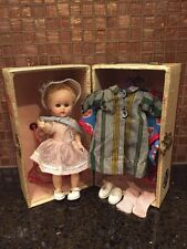 """Very RARE Vintage Cosmopolitian Ginger Doll 8"""" with Clothes and Trunk - 1950""""s"""